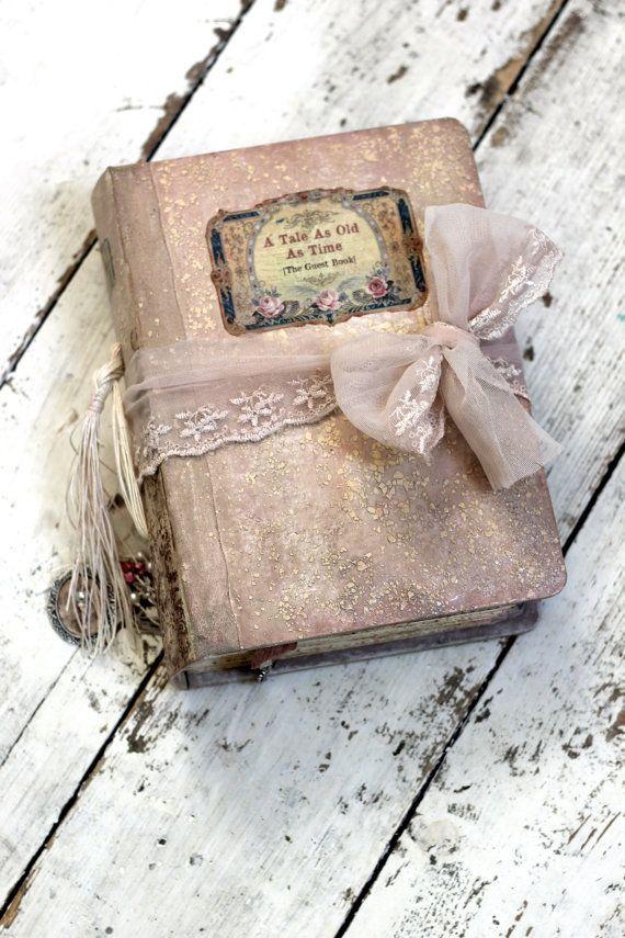 Blush pink victorian romantic feminine Tulle lace Photo Album OR  Fairytale Wedding Guest Book and Scrapbook album