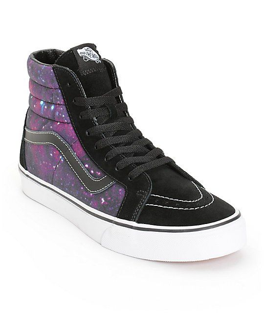 Improve your style with galaxy print canvas side panels and a black perforated suede toe in a classic Vans high top silhouette.