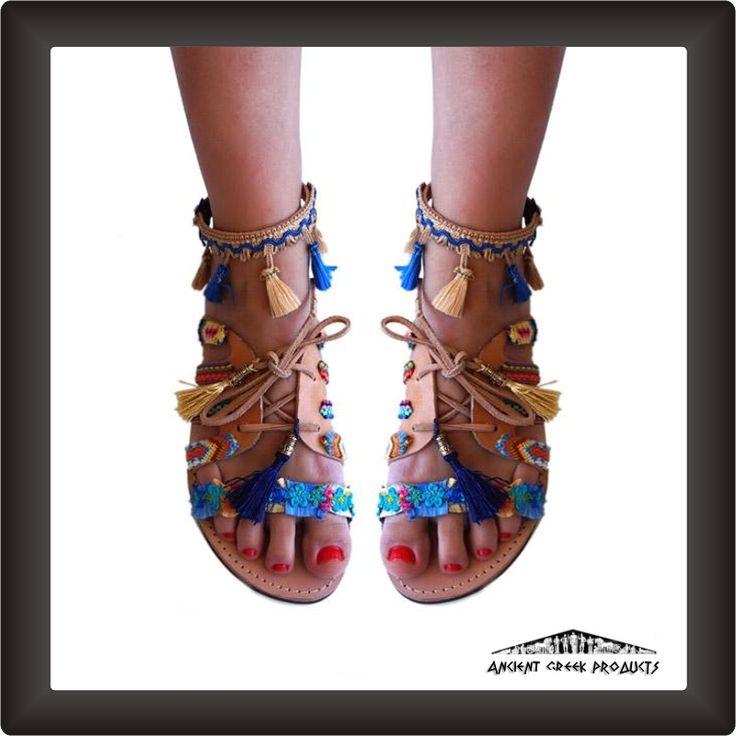 Gladiator genuine leather sandalHandmade greek genuine leather sandal Boho-Ethnic style