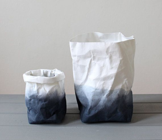 Paper bag Charcoal black and White grey ombre by WarmGreyCompany