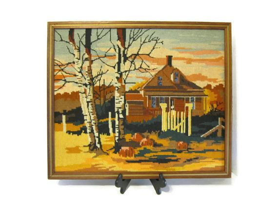 Vintage Completed Cross Stitch Rustic Wall Decor by FoxLaneVintage, $32.25