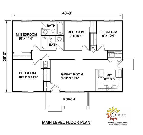 Ranch Style House Plan 94451 With 4 Bed 2 Bath 30x40