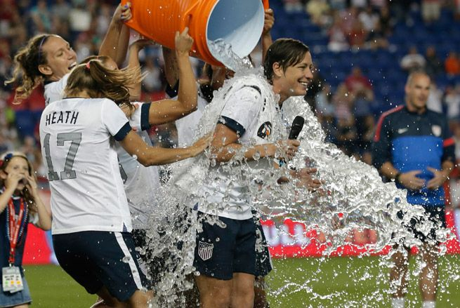 Celebratory Gatorade shower after the 5-0 win vs. South Korea where Abby Wambach scored 4 goals and set a new all time record of 160 international goals scored