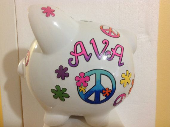 Personalized Flower Girl Large Piggy Bank by KUTEKUSTOMKREATIONS