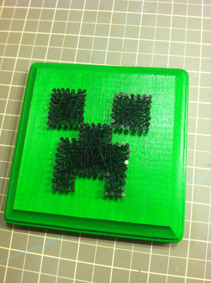 "Minecraft 5""x5"" CREEPER string art. $9.99, via Etsy."