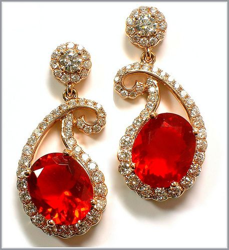 LeVian Fire Opal Paisley Earrings are just perfection!