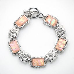 Pink Mother of Pearl Link Bracelet with Flower Design