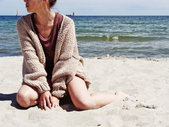 Pure Chunky Cardigan  Summer Sand  Oversized Sweater Fall | Etsy