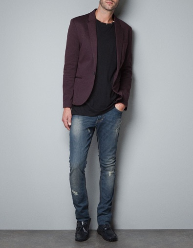 PLAIN COLOURED CIRCULAR KNIT SUIT BLAZER - Blazers - Man - ZARA - Cheap version of what I really want...hope it isn't too popular.