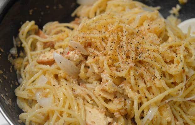 recette tofu fumé spaghettis