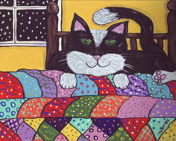 "Cosy Quilt Cat"" Archival Print Folk Art Whimsical Tux Kitty Nova Scotia By H Pye on Etsy, $15.00"