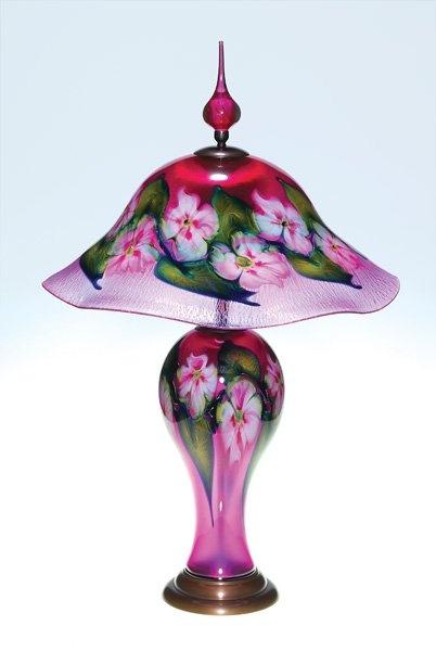"Charles Lotton Multi-Flora lamp, gold ruby, 31"""