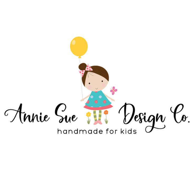 Premade Logo & Blog Header - Sweet Girl with Balloons & Flowers Premade Logo Design - Customized with Your Business Name!