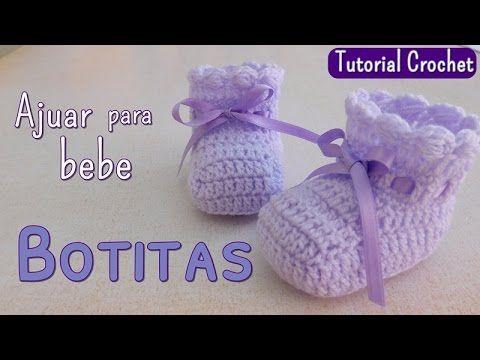 Hoy vamos a tejer a crochet - ganchillo zapatitos para un bebe de 0 a 3 meses. Esta prenda forma parte del ajuar que publicamos anteriormente. Para ver mas t...