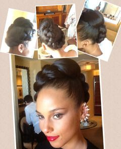 alicia keys mohawk braided hairstyles for black women | Alicia Keys Billboard Awards Updo