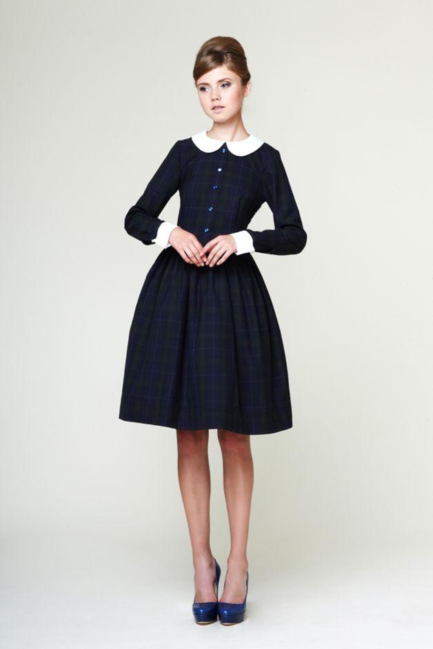 Dresses – Liana - Woolen Tartan Dress With Detachable Collar – a unique product by mrspomeranz on DaWanda