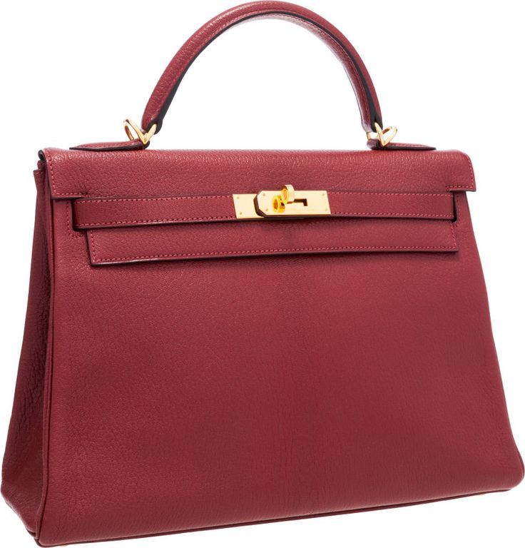 Hermes 32cm Rouge H Chevre Leather Retourne Kelly Bag with Gold Hardware