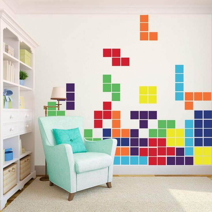 tetris game large vinyl wall art decals artwork for office walls