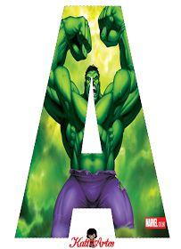 Hulk Free Alphabet. Alfabeto Gratis de Hulk.