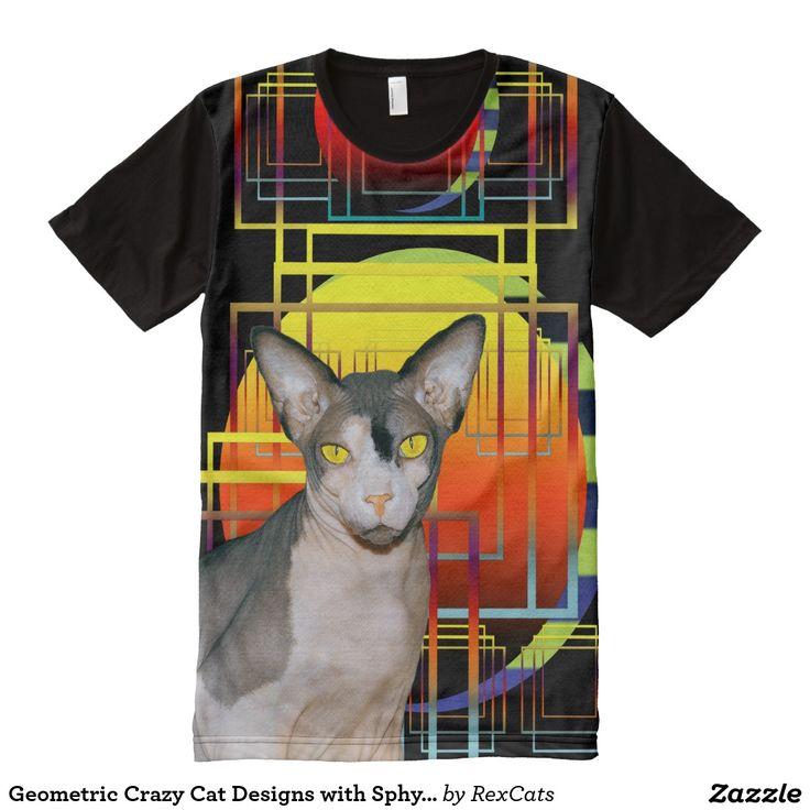 Geometric Crazy Cat Designs with Sphynx Cat Ninja All-Over Print T-shirt