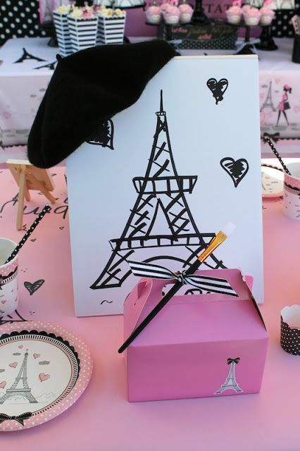 LAURA'S little PARTY: Paris Themed Painting Party. Paris Themed Painting Party. French / Parisian Birthday Party Ideas! Painting easels and boxed up painting kits for every guest! See more party planning ideas at lauraslittleparty...