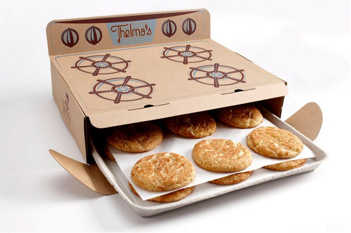 Thelma's is a warm cookie delivery business named in honor of the owner's great-grandma, famous for her snickerdoodle cookie recipe. The delivery box not only keeps the cookies warm but also looks like Grandma's oven and the cookies even come out of the box as if they were being removed from an oven. For an added touch, a few words of wisdom from Thelma are printed on the back of the box.