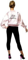 Ladies Grease Pink Lady Jacket available at www.partyonfancydress.co.uk