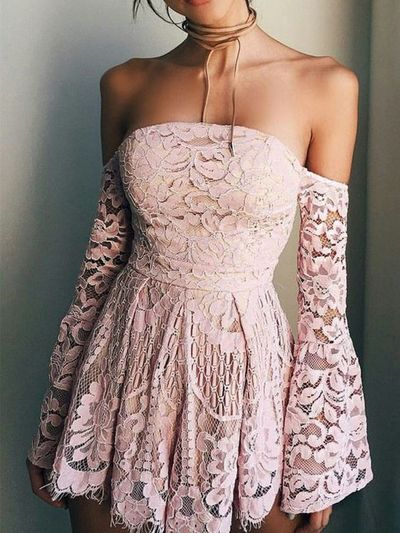 Simple and Cute A Line Sweetheart Long Sleeve Brush Pink Short Dress, Lace Homecoming Dress Under 100 from PeachGirlDress