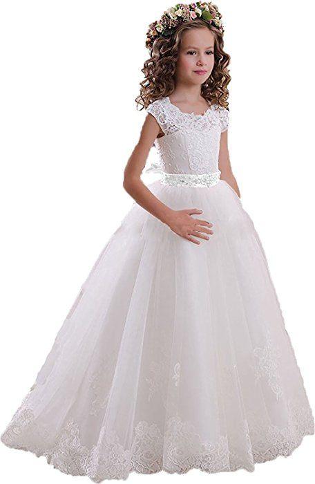 fc1b0cfbb5 Amazon.com  Helen Lace Flower Girls Dresses for Wedding Princess Baptism  Dress072  Clothing
