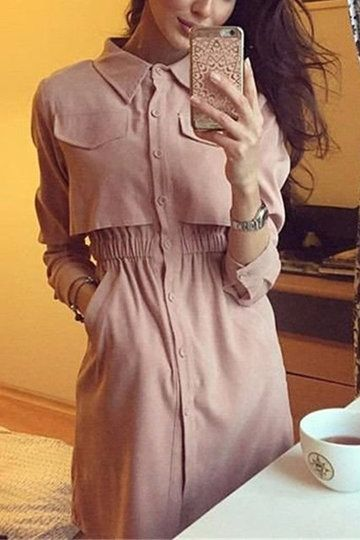 Pink Extensible Wasit Shirt Dress With Side Pockets - US$35.95 -YOINS