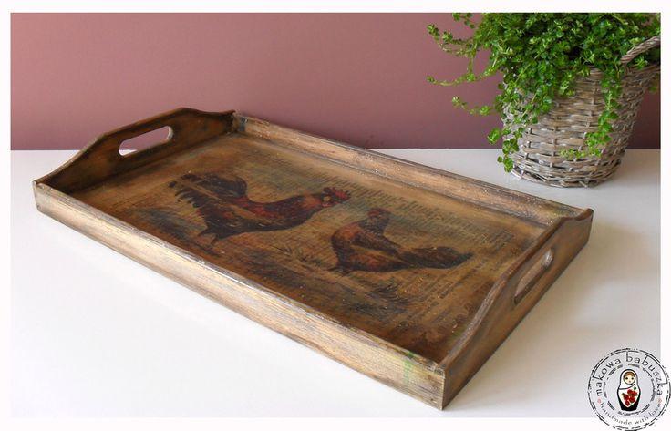 Drewniana taca z kogutami - makowababuszka - Tace