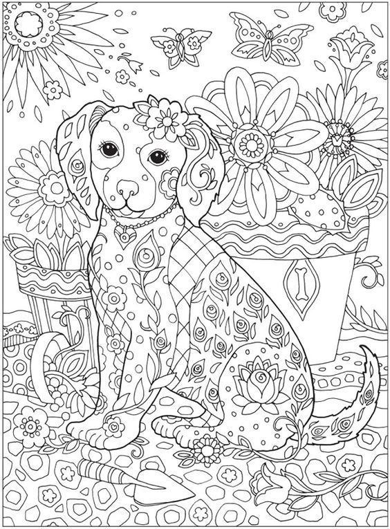 Mindfulness Coloring Pages | Dog coloring book, Puppy ...