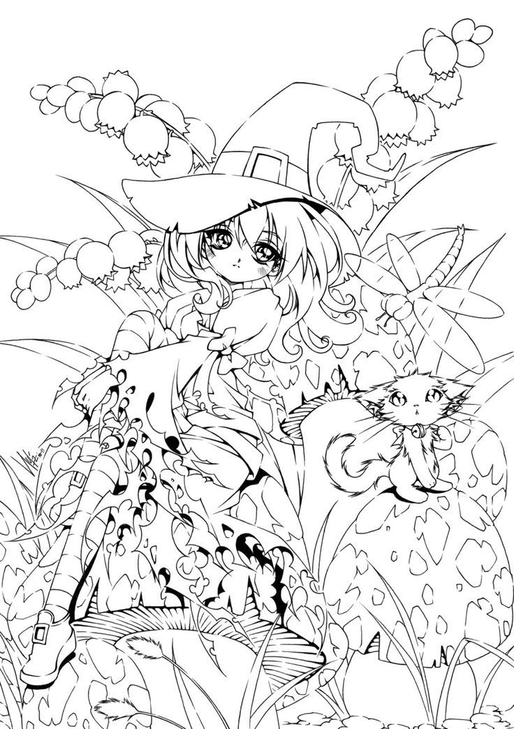 girl Witch! Bruxinha para colorir