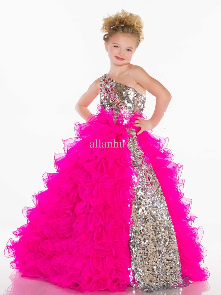 Wholesale 2013 Girl's Pageant Dresses Cute Princess One Shoulder BlingBling Sequins Pleat Organza Fuchsia White Ball Gown Little Girl Dresses 42877s, Free shipping, $99.0/Piece | DHgate