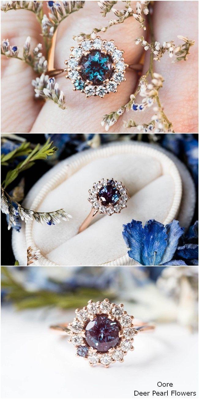 Alexandrit Cluster Halo Verlobungsring, einzigartige Verlobungsring #Ringe #Hochzeit
