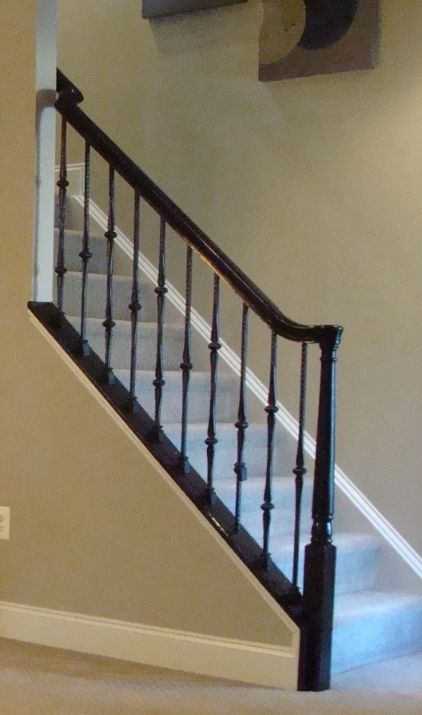 Color Glossy Black Staircase Handrail Not Style Paint