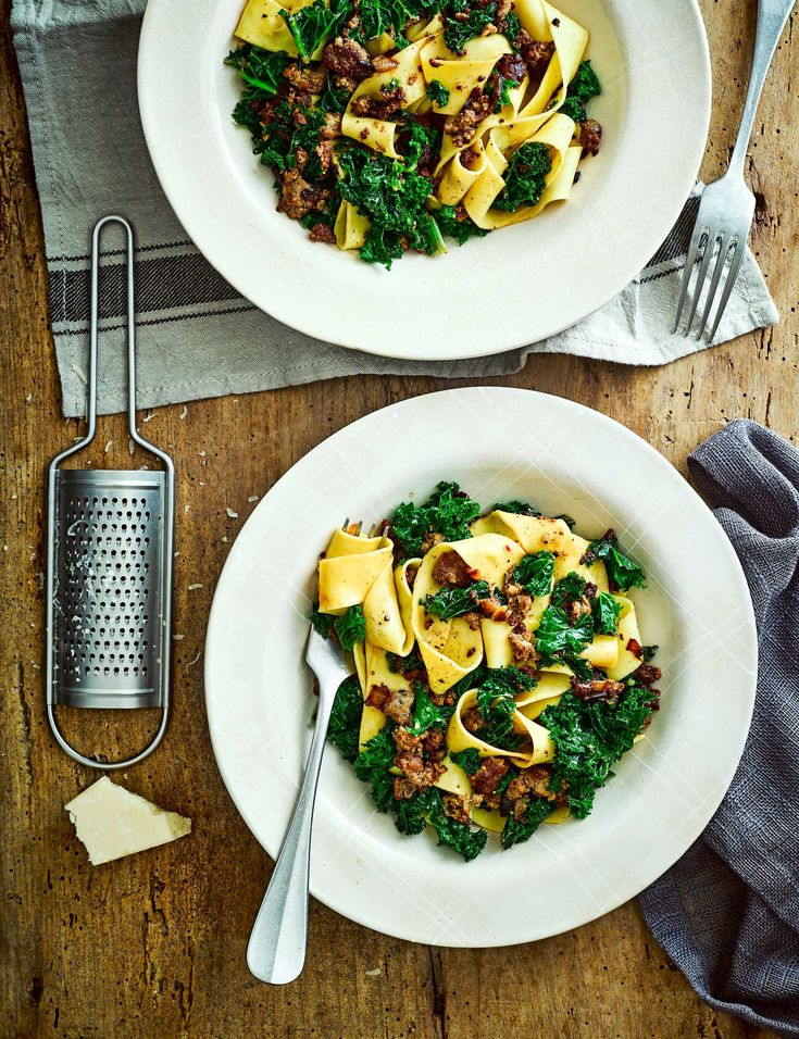 Sausage Pappardelle Recipe with Kale Check out this super quick and easy pappardelle with spicy sausage and curly kale. The ribbons of pappardelle and hint of chilli make this dish a wonderful warming midweek meal for two