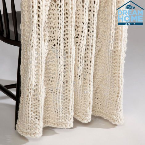 """A fashion staple comes home!  This chunky, open-weave knit throw is as cozy as your favorite winter sweater with a soft wool blend that's comforting, and always """"in."""""""