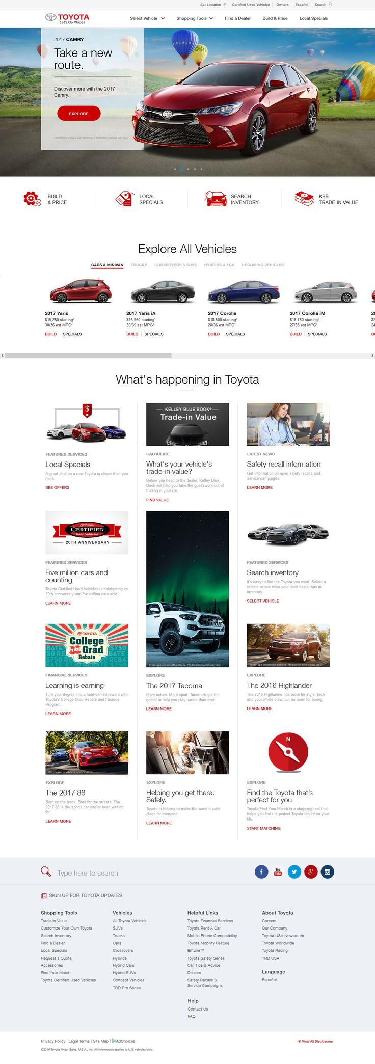 Toyota website in 2016