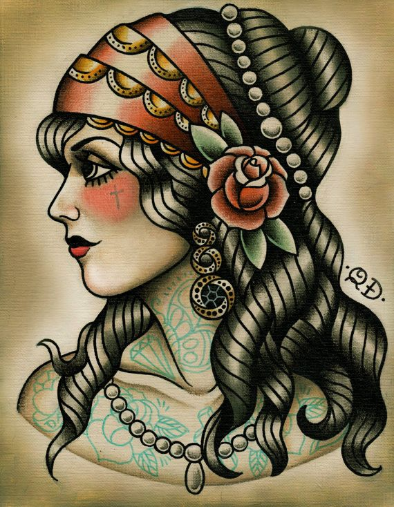Gypsy Tattoo Art Print by ParlorTattooPrints on Etsy, $26.00
