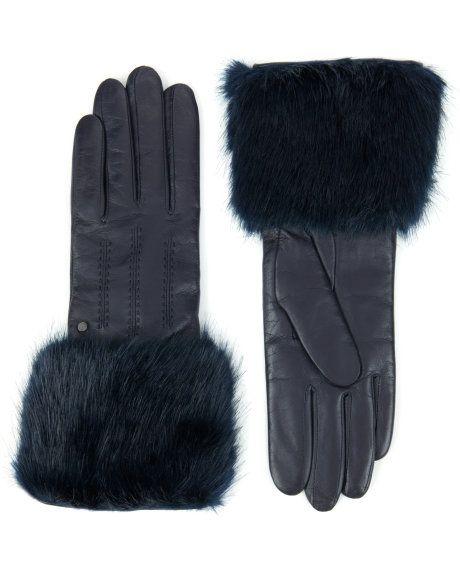 Faux fur trimmed gloves - Navy   Scarves & Gloves   Ted Baker