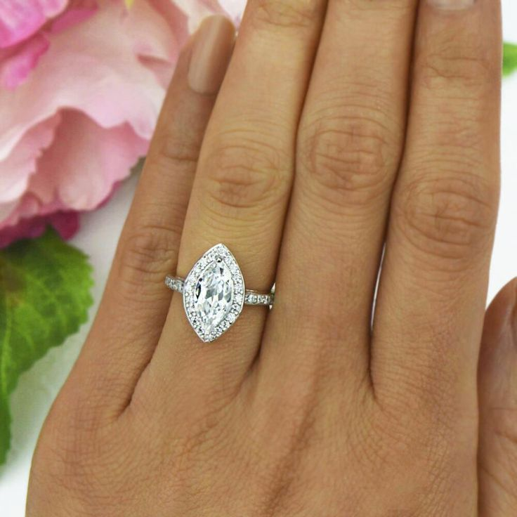 2.25 ctw Marquise Halo Ring - Final Sale