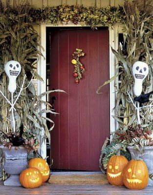see some of our favorite halloween door decoration ideas including creepy front door wreaths spooky porches and festive accessories - Fall Halloween Decorations