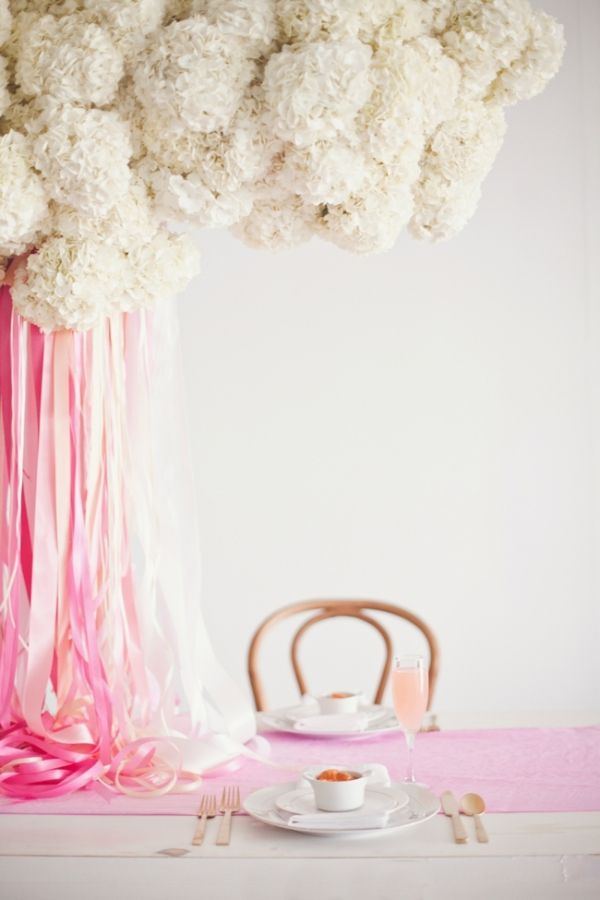 gorgeous white hydrangea display with falling pink ribbons by CoutureEventsbyLottie.com // flowers by BowsandArrowsDeluxe.com // photo by nbarrettphotography.com