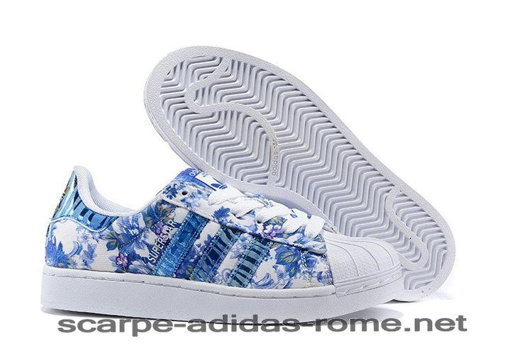 Superstar 2 Adidas Blu Print Donna Scarpe (Adidas Nuove) - Superstar 2 Adidas Blu Print Donna Scarpe (Adidas Nuove)-31