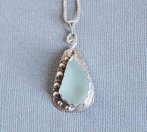 Sea glass jewelry ocean glass necklace by Jewelrybeyondthesea