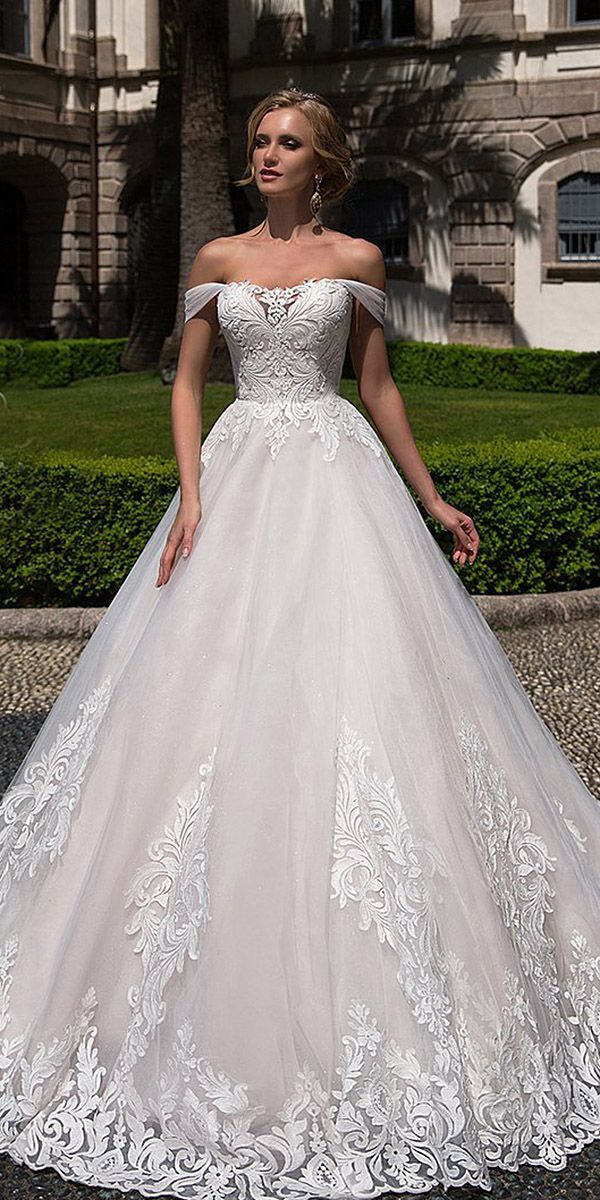 24 Lace Ball Gown Wedding Dresses You Love ❤️ lace ball gown wedding dresses off the shoulder tulle skirt lussano bridal ❤️ Full gallery: https://weddingdressesguide.com/lace-ball-gown-wedding-dresses/
