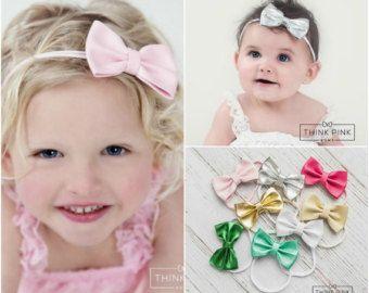 Baby Stirnband SET Baby Stirnband kleine Bögen von ThinkPinkBows