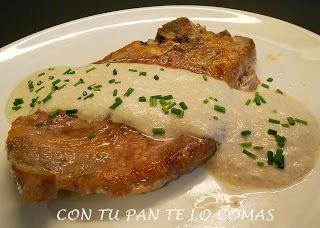 Con tu pan te lo comas: CHULETAS DE CERDO CON SALSA DE SETAS