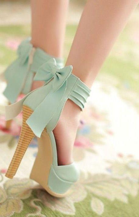 Mint Bow Back Heels ღ